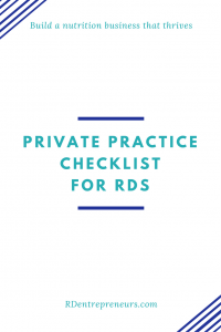 private practice checklist for RD