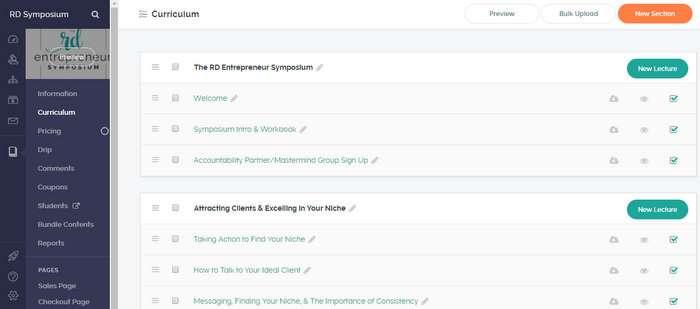 Teachable course example for dietitian entrepreneurs